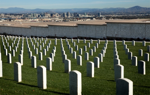 Rosecrans National Cemetery with San Diego backdrop