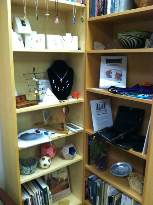 I arrnaged these shelves to show my products, but I need to rethink things. It's pretty crowded and confusing.
