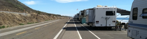 The Rincon Parkway Campground runs right on the shoulder of the Pacific Coast Highway, with marked spaces for RVs.