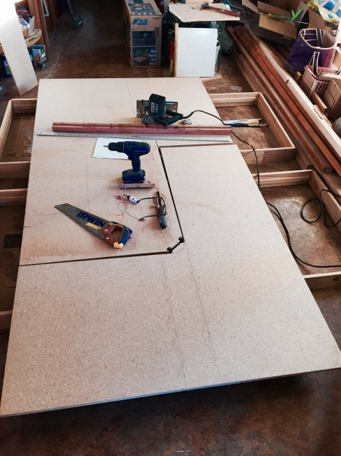 The 4 x 8 sheet of particleboard was exactly enough, no more, no less, for the 3 countertop pieces and the edge supports.